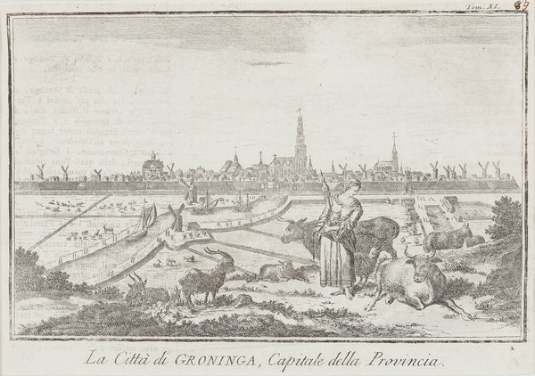 Antieke prent. Antique print. 'La Citta di Groninga, Capitale delle Provincia'. Engraving, published in Italy in ca. 1750. Nice charming view of the city.