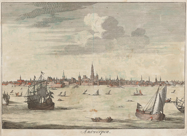 Antieke prent. Antique print. Nice view at Antwerp seen from the Schelde with a lot of ships. Contemporary handcoloured engraving published by Francois Halma, Amsterdam 1705, antwerp, Belgium, flanders, engraving, city view