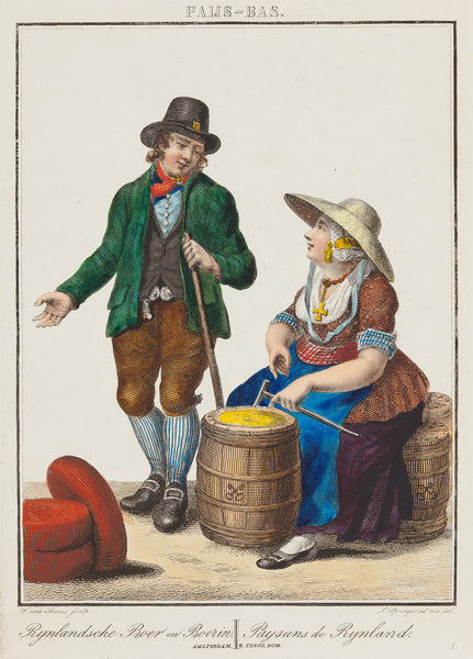 Antieke prent. Antique print. Title: 'Rijnlandsche Boer en Boerin - Paysans de Rijnland' . Very beautiful contemporary handcoloured engraving. Engraved by Willem van Senus after Leendert Springer, published by Theod. Bom , Amsterdam. ca. 1825. It shows a women selling butter and a man selling cheese. 'Rijnlandsche Boer en Boerin - Paysans de Rijnland' costumeprint, fashion, dutch culture, rijnland, antique print, colour
