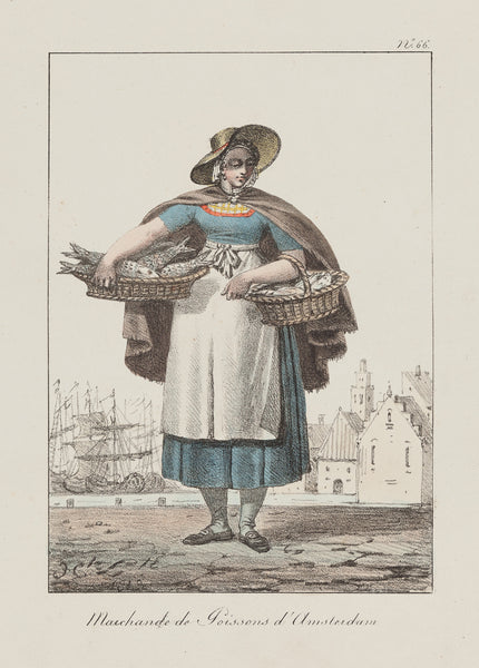Antieke prent. Antique print. Contemporary coloured lithograph by H. Lecomomte, 1819. Part of a series with costumes from European cities. This shows a lady who sells fish from the surroundings of Amsterdam. Fashion, costume, holland, amsterdam, antique print, lithograph