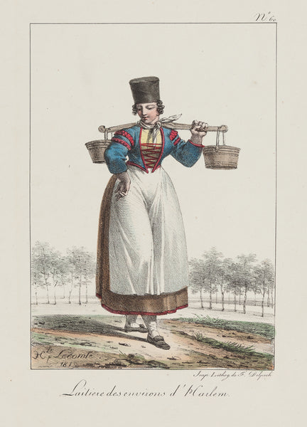 Antieke prent. Antique print. Title: 'Laitiere des environs d' Harlem'. Lovely lihograph by Lecomte, published by Delpech in 1819. Part of a series of European Costume by Lecomte. Milkmaid from Haarlem - Costume 'Laitiere des environs d' Harlem'. Lovely lihograph by Lecomte, published by Delpech in 1819.