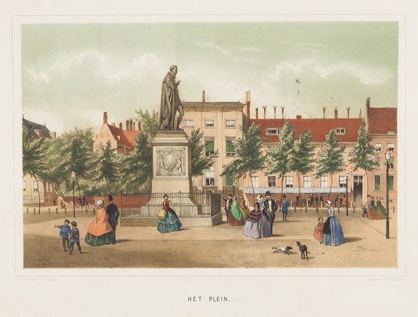 Antieke prent. Antique print. Tinted lithograph with contemporary handcolour. Published in The Hague by De Geus and drawn by G.J. Bos. Lithograph by P.W.M. Trap. Het Plein, Den Haag, Trap, Litho, Bos, The Hague