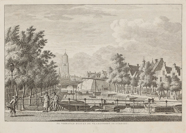 Antieke prent. Antique print. Title: 'De Voorstad buiten de Waardpoort te Utrecht'. Engraving by Karel Frederik Bendorp after Jan Bulthuis. Published in 1793. Utrecht,antique print, engraving, city view, holland, bulthuis, voorstad, waardpoort