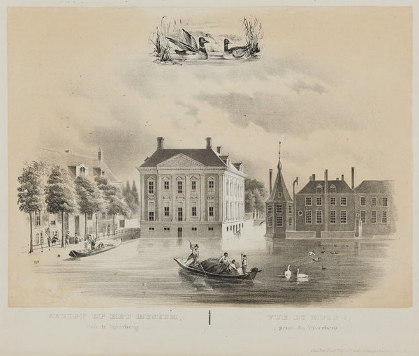 Museum Mauritshuis at the Hofvijver, at the left the Korte Vijverberg and at the right the buildings of the Binnenhof.