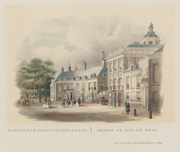 'Koninklyk Paleis in Het Bosch' - The palace Huis ten Bosch seen from the west.  Tinted lithograph with contemporary handcolouring from 1850 by A.P. van Langenhuijsen.