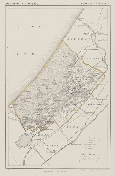 Wassenaar, map, antique map, lithograph , kuijper, zuid holland,