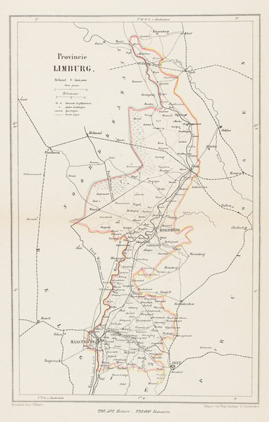 Limburg, lithograph, Kuijper, map, antique map, antieke kaart