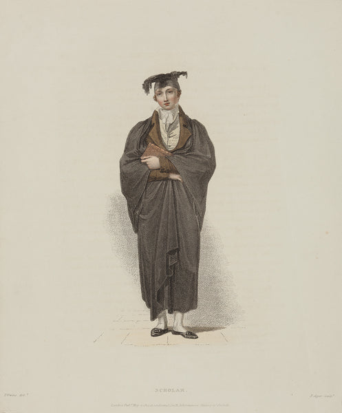 Profession, university, oxford, doctor, student, engraving, antique print, scholar