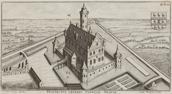 'Prospectus Veteris Castelli Graviae' (The Castle in Grave). Engraving by Gaspar Bouttats after J. van Croes from 'Groot Wereldlyk Tooneel Des Hertogdoms Van Braband' published in 1690