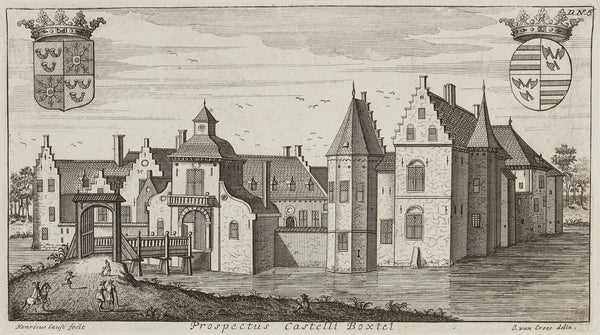 'Prospectus Castelli Boxtel'  Engraving by Gaspar Bouttats after J. van Croes from 'Groot Wereldlyk Tooneel Des Hertogdoms Van Braband' published in 1690.