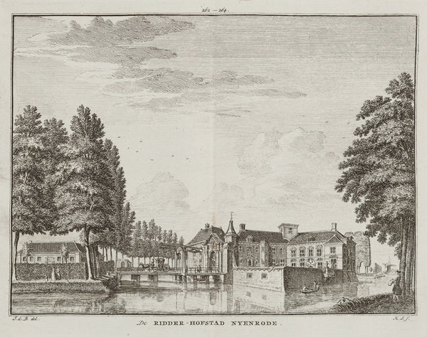 Nijenrode, Nyenrode, Hofstad, spilman, antique print, breukelen, noord holland, university, business,engraving, old print