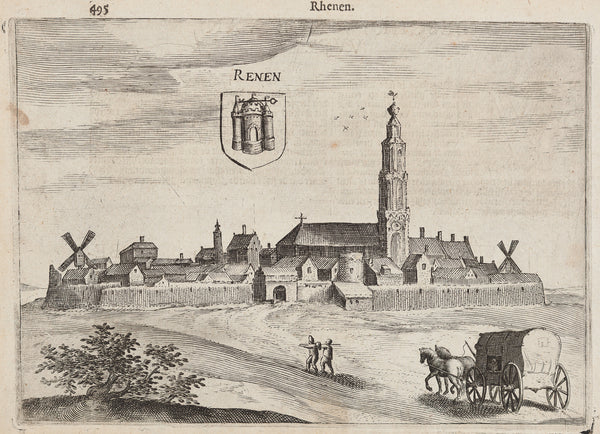 View at the city Rhenen (Utrecht). Engraving by Guicciardini, published ca. 1610 in a Dutch translation of ' Descrittione di tutti i Paessi Bassi'