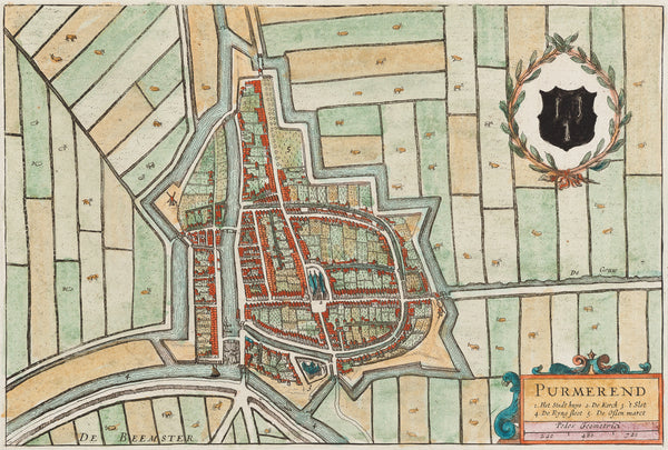 Purmerend, Noord Holland, Holland, map, antique map, townplan, Blaeu, engraving,colour