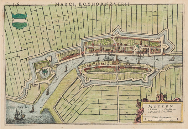 Muiden, antique map, townplan, engraving, holland, noord holland, boxhornius