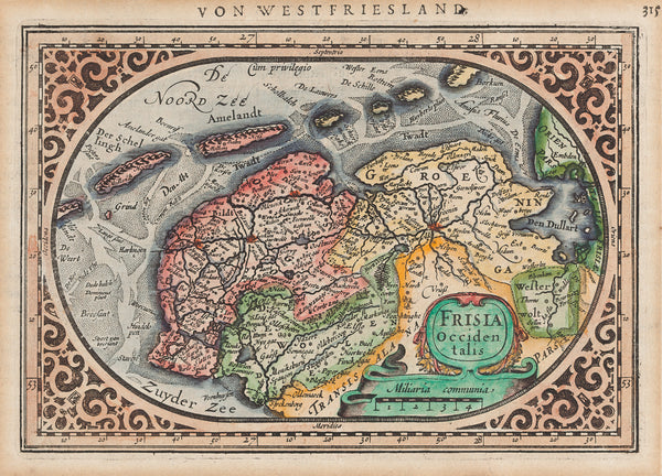 Friesland, Groningen, map, antique map, frisia, antique print, engraving, waddenzee, eilanden