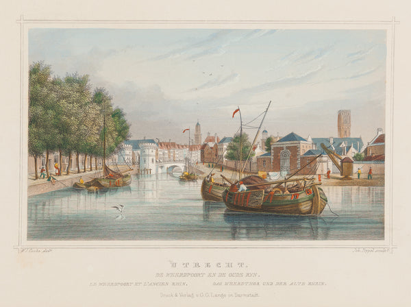 Utrecht, Oude Rijn, engraving, antique print, old print, weerdpoort, steelengraving, colour, holland