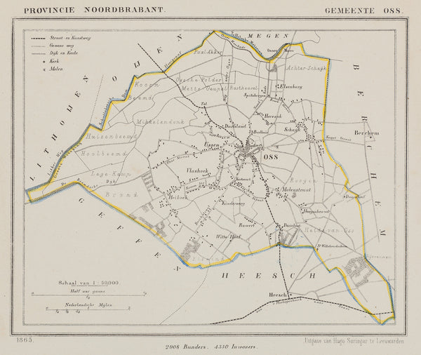 Oss, Brabant, Kuijper, Lithograph, map, townplan, antique map, old map, holland