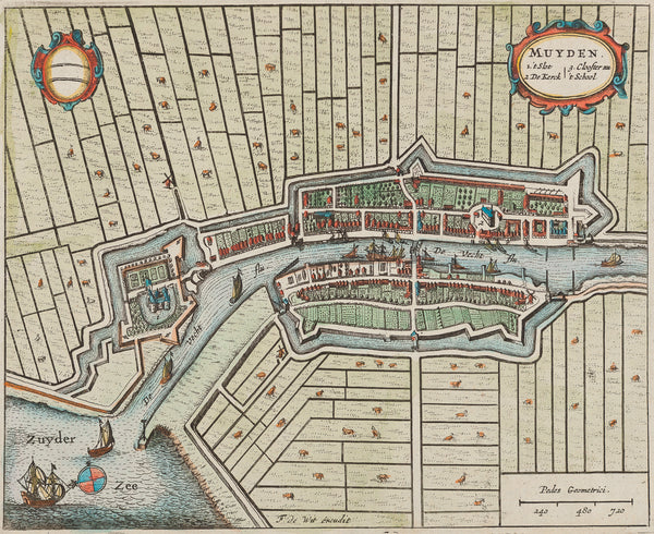 muiden, muyden, de wit, antique map, old map, holland, zuiderzee, noord holland, townplan