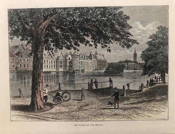 den haag, the hague, gravenhage, binnenhof, parliament hofvijver,church, view, old print, engraving, antique print, original, colour