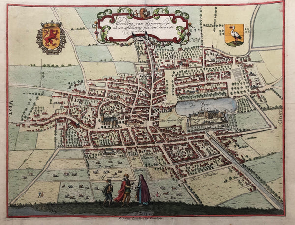 The Hague, Hague, den haag, map, antique map, townplan, engraving, coloured, binnenhof, buitenhof, hofvijver