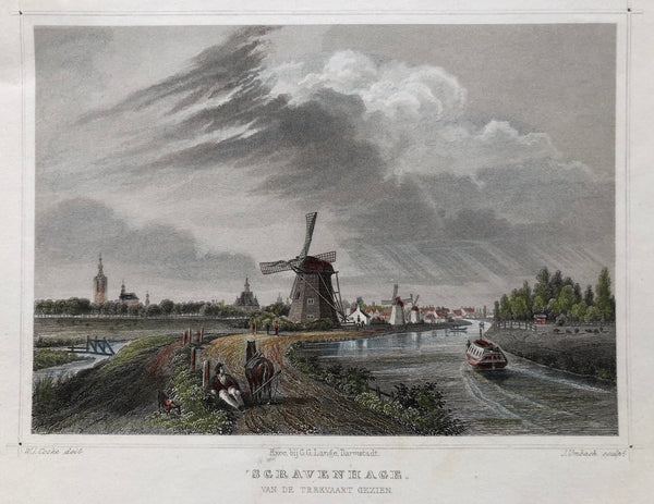 the hague, den haag, trekvaart, gravenhage, old print, antique print, engraving, coloured, mill, landscape, city view