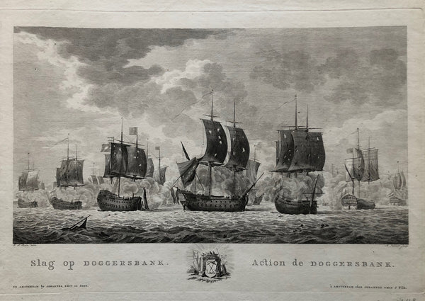 'Slag op Doggersbank – Action de Doggersbank'. Nice engraving showing the battle on august 5th 1781 during the 4th Anglo-Dutch War