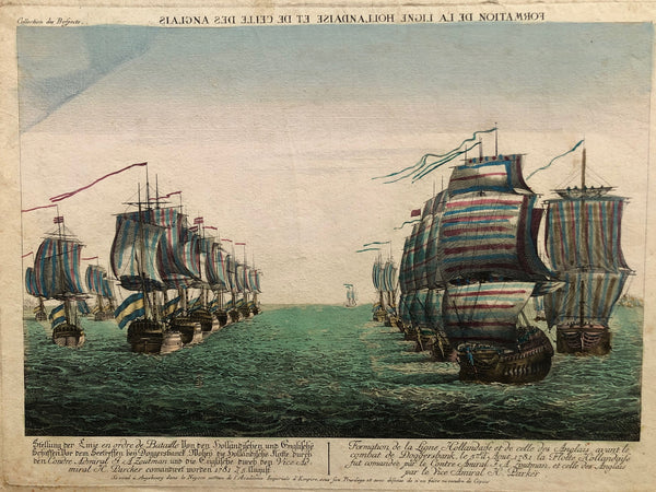 doggersbank, ships, sea battle, war, english, dutch, zoutman, parker, engraving, colour, optica, schepen, zeeslag, augsburg, formation,