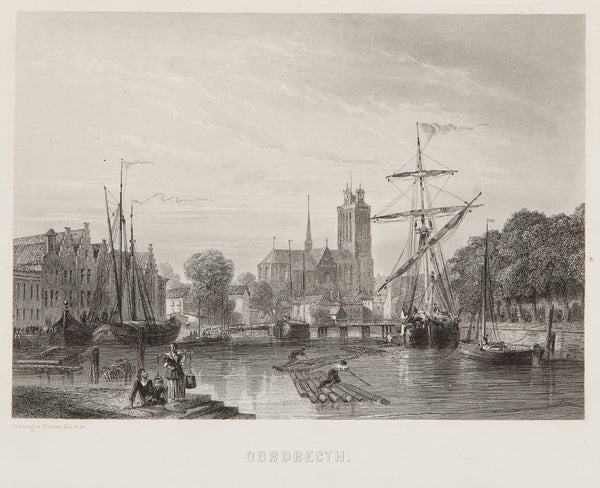 holland, south, engraving, old print, dordrecht, city view, antique print, rouargue, boats, canal