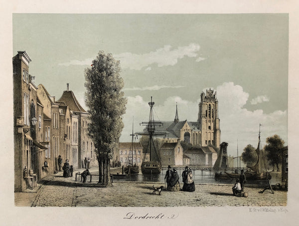 Tinted lithograph, published by C.W. Mieling in ca. 1860. Nice view of Dordrecht.