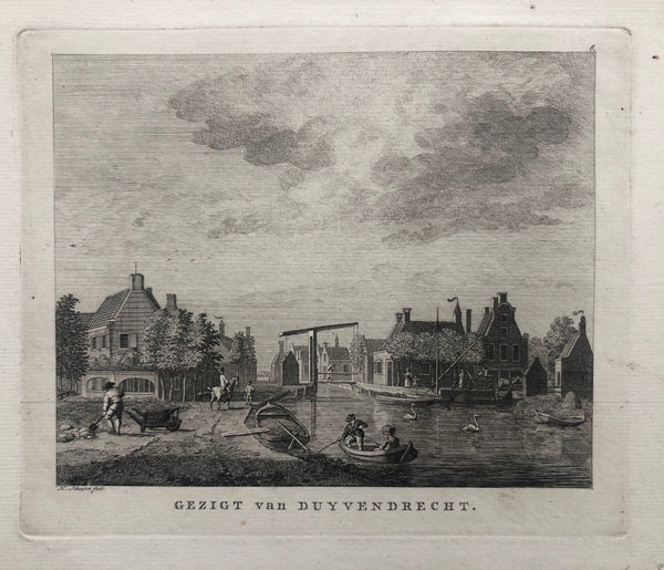 Duivendrecht, duyvendrecht, ouder amstel, amsterdam, zuid, omval, oude prent, old print, antique print, etching, engraving, schouten, watergraafsmeer, bridge, brug, antieke prent, view, gezicht