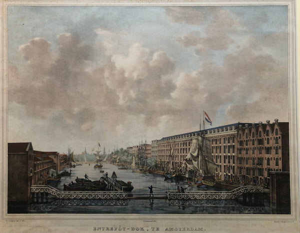 'Entrepòt - Dok, Te Amsterdam' . The Entrepotdok in Amsterdamseen from the Muidergracht to the Nieuwe Herengracht. Handcoloured lithograph drawn by Petrus Josephus Lutgers and published by  Desguerrois en Co. in 1833.
