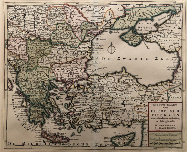balcan, turkey, greece, crete, meacedonia, armenia,bulgaria, romania, cyprus, map, old map, antique map, engraving, colour, tirion, servia, bosnia, anatolia