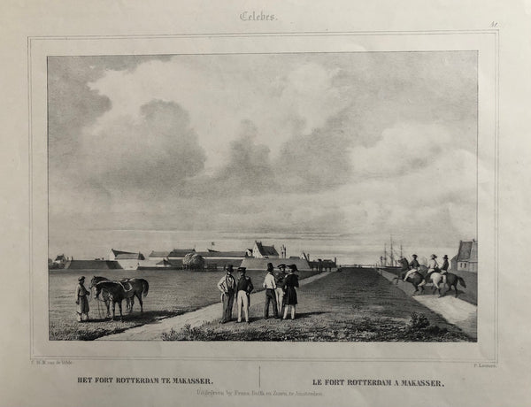 rotterdam, fort rotterdam, celebes, makasser, makassar, sulawesi, indonesia, old print, antique print, lithograph, lauters, velde, buffa, antieke prent, oude prent, lithografie, voc, indie compagnie.