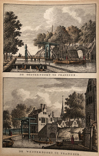 'De Oosterpoort te Franeker - De Westerpoort te Franeker  Handcoloured engraving, two views on one sheet. Drawn by Jan Bulthuis and engraved by K.F. Bendorp. Published in 1793