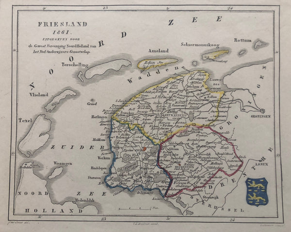 Friesland, holland, leeuwarden, zuider zee, waddenzee, ameland, schiermonnikoog, harlingen, map, old map, engraving, antique map, veelwaard, gouw