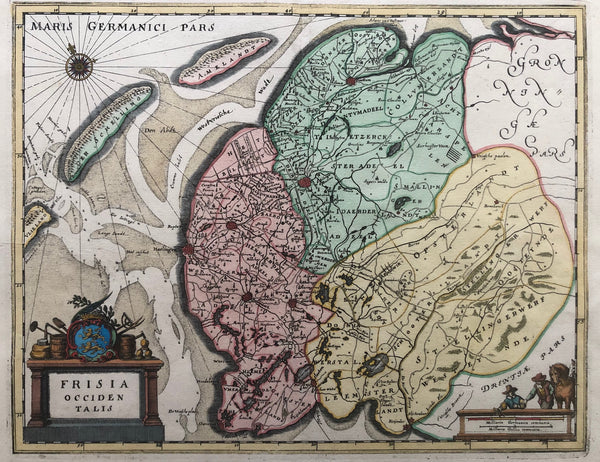friesland, old map, antique map, map of friesland, engraving, terschelling, ameland, harlingen, leeuwarden, groningen, hindelopen, merian, colour, frisia occidentalis, frisia