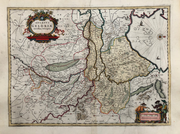 Ducatus Geldriae novissima descriptio' . Nice map of Gelderland (orientated West). At the left starting with the city of Maastricht, top centre Gorcum (Gorinchem) and at the right all the way to Meppel.