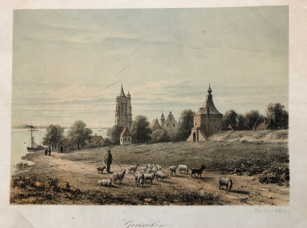 Tinted lithograph, published by C.W. Mieling in ca. 1860. It shows the city Gorinchem (Gorkum, Gorcum) in Zuid-Holland in a rural atmosphere with the church, a tower, the river and sheep