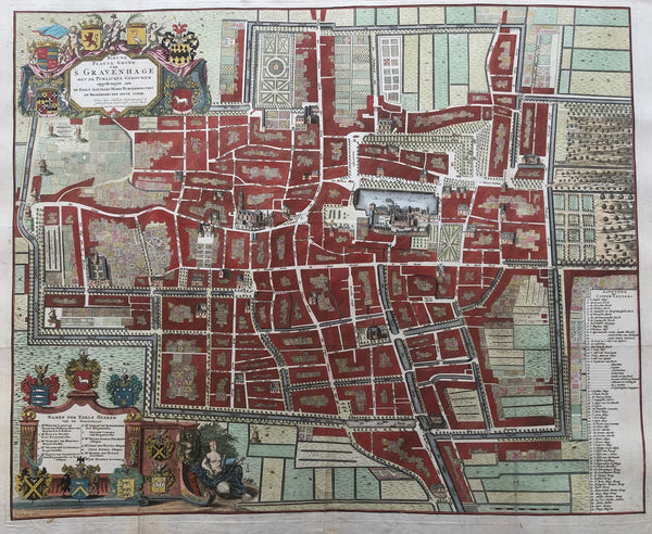 The Hague, den haag, gravenhage, map, old map, antique map, binnenhof, townplan, anna beek, plattegrond