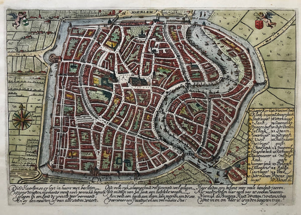 'Haerlem'  Very nice detailed map of Haarlem by Pieter Saenredam , engraved by Willem Akersloot. Handcoloured engraving, published in 1628