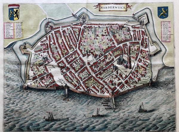 'Harderwiick'. Very nice decorative map of Harderwijk from the famous atlas 'Toneel der Steeden' by Joan Blaeu from 1649.