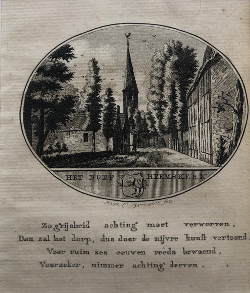 'Het Dorp Heemskerk' . Nice , small engraving by Anna C. Brouwer of Heemskerk in North Holland (Kennemerland)