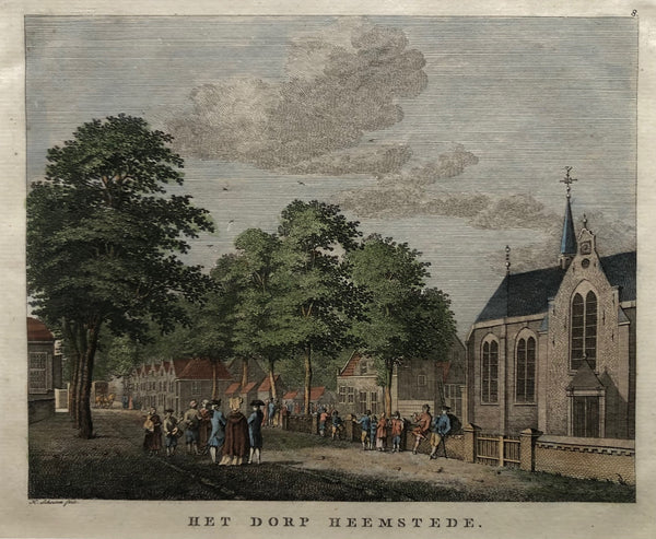 oude prent, prent heemstede, heemstede, old print, antique print, dutch, engraving, schouten, holland, church, haarlem, antieke prent, noord holland