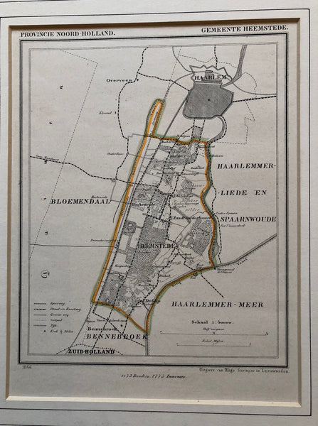 Provincie Noord Holland - Gemeente Heemstede' . Lovely detailled map of Heemstede by J. Kuijper and published by Hugo Suringar in 1866.