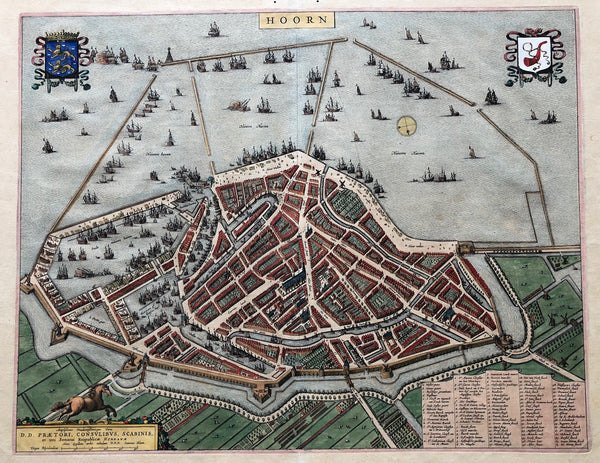 Nice handcoloured map of Hoorn published in Blaeu's Townbook in 1649 With arms of West Friesland and Hoorn. Very decorative map with a lot of ships.