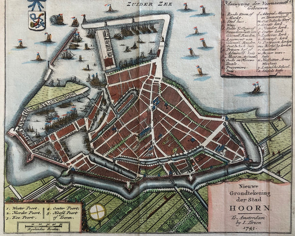 hoorn, map, townplan, holland, old map, dutch, zuider zee, west friesland, voc, ships