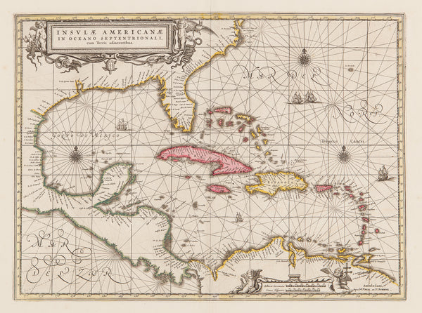 Map Of America And Central America.America Caribbean West Indies Antiquariaat De Vries De Vries