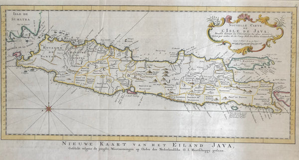 old map, antique map, map of java, oude kaart, antieke kaart, kaart van java, indonesie, indonesia, east indie, VOC, V.O.C. batavia, sumatra, bellin, bali, madura, soerabaja, amsterdam, onrust, edam, haarlem, behouden passage, oost indie, gravure, engraving, eiland, island, isle