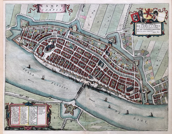 'Campi Vulgo Campen' . Large bird's eye map of Kampen (Overijssel, Holland). Handcoloured engraving published by Joan Blaeu in 1649