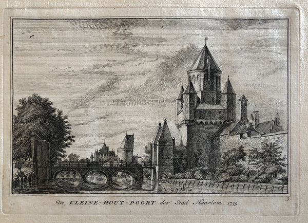 etching, old print, antique print, engraving, spilman, kennemerland, oude prent, antieke prent, houtpoort, kleine houtpoort, haarlem, holland, dutch, city view